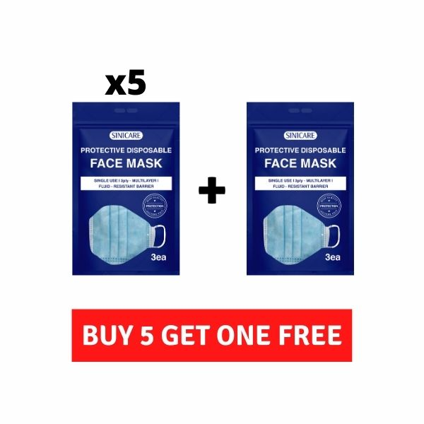 PROMOTION Sinicare 3 Ply Disposable Protective Face Mask (3 pack)