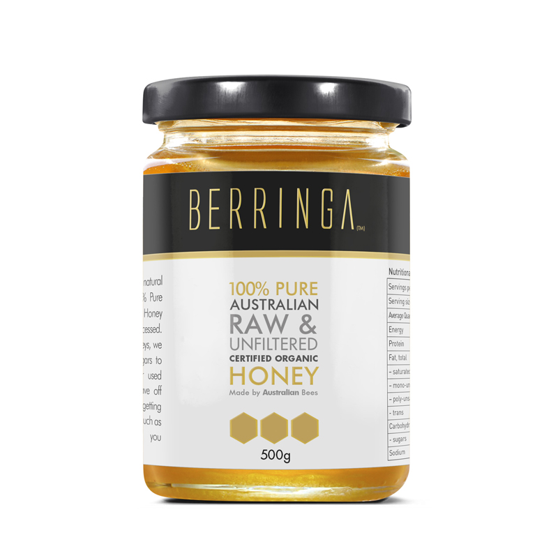 Berringa Certified Organic Raw and Unlfiltered Eucalyptus Honey 500g